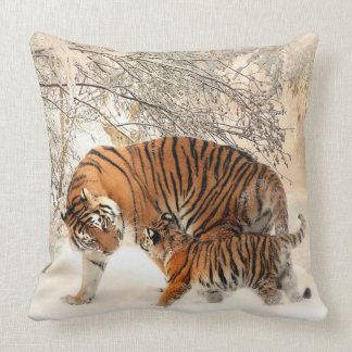 Tiger and her Baby Cub Throw Pillow
