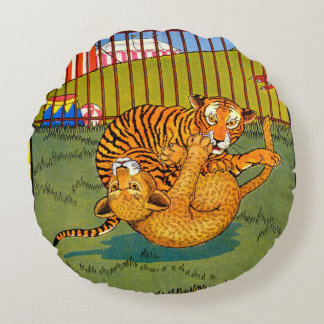tiger and leopard wrestling round pillow