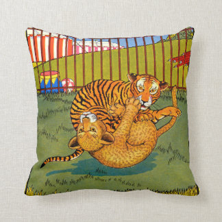 tiger and leopard wrestling throw pillow