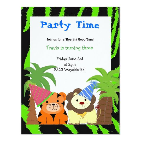 Tiger and Lion Birthday Invitation