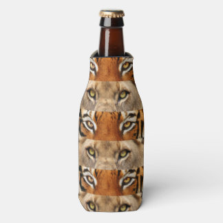 Tiger and Lion eyes Photo Bottle Cooler