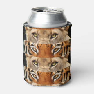 Tiger and Lion eyes Photo Can Cooler