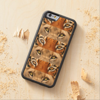Tiger and Lion eyes Photo Carved Maple iPhone 6 Bumper Case
