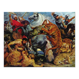 Tiger And Lion Hunting By Rubens Peter Paul Card