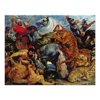 Tiger And Lion Hunting By Rubens Peter Paul Custom Invitation
