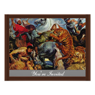 Tiger And Lion Hunting By Rubens Peter Paul Custom Invitations