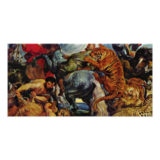 Tiger And Lion Hunting By Rubens Peter Paul Personalized Photo Card