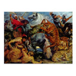 Tiger And Lion Hunting By Rubens Peter Paul Post Cards