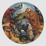 Tiger And Lion Hunting By Rubens Peter Paul Round Sticker