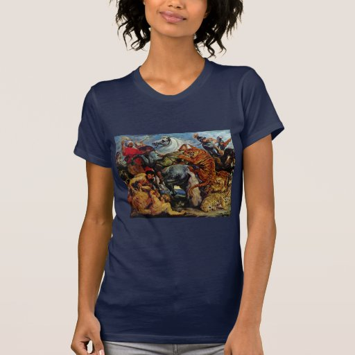 Tiger And Lion Hunting By Rubens Peter Paul T-shirt