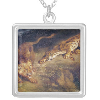 Tiger and Lion Square Pendant Necklace
