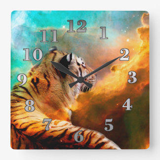 Tiger and Nebula Square Wall Clock