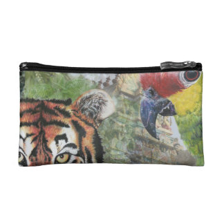 Tiger and parrot small make up case