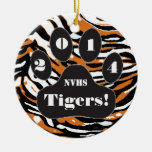 Tiger and Paw Print-School Spirit Double-Sided Ceramic Round Christmas Ornament