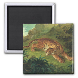 Tiger and Snake, 1858 2 Inch Square Magnet