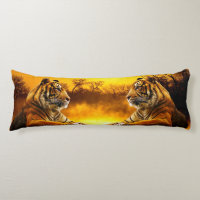 Tiger and Sunset Body Pillow