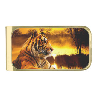 Tiger and Sunset Gold Finish Money Clip