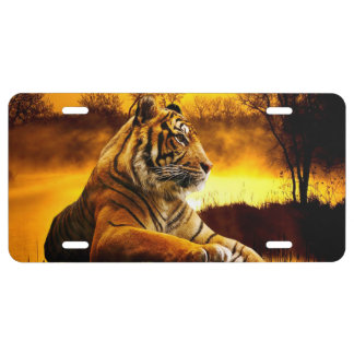 Tiger and Sunset License Plate