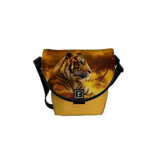 Tiger and Sunset Messenger Bag