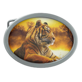 Tiger and Sunset Oval Belt Buckle