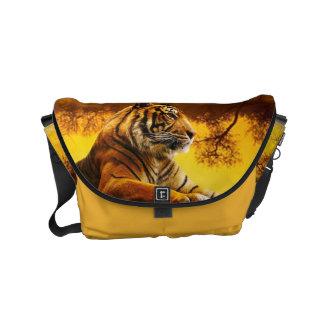 Tiger and Sunset Small Messenger Bag