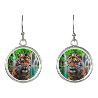 Tiger and Waterfall Earrings