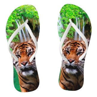 Tiger and Waterfall Flip Flops