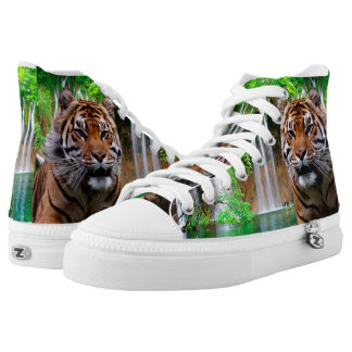 Tiger and Waterfall High-Top Sneakers