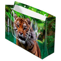 Tiger and Waterfall Large Gift Bag