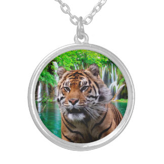 Tiger and Waterfall Silver Plated Necklace