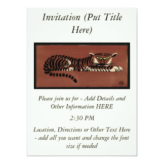 Tiger - Antiquarian, Colorful Book Illustration 6.5x8.75 Paper Invitation Card