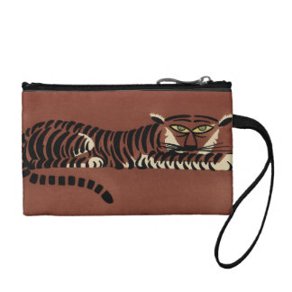 Tiger - Antiquarian, Colorful Book Illustration Coin Wallet