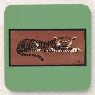 Tiger - Antiquarian, Colorful Book Illustration Beverage Coaster