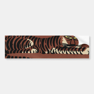 Tiger - Antiquarian, Colorful Book Illustration Car Bumper Sticker