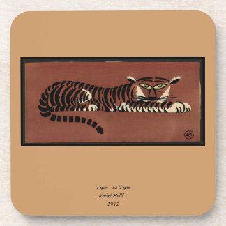 Tiger - Antiquarian, Colorful Book Illustration Coaster