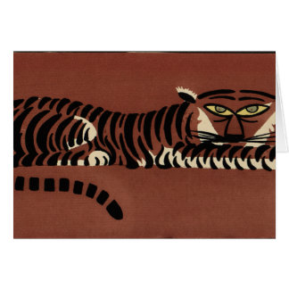Tiger - Antiquarian, Colorful Book Illustration Greeting Card