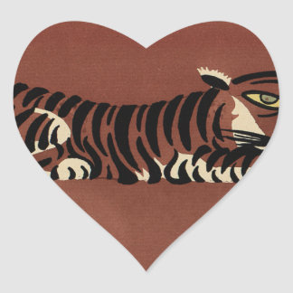 Tiger - Antiquarian, Colorful Book Illustration Heart Sticker