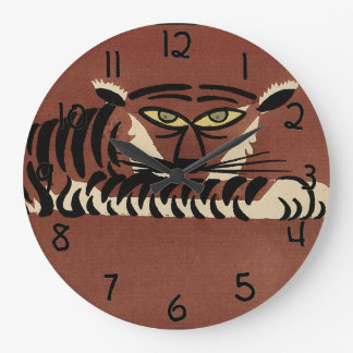 Tiger - Antiquarian, Colorful Book Illustration Large Clock