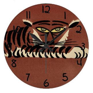 Tiger - Antiquarian, Colorful Book Illustration Large Clock