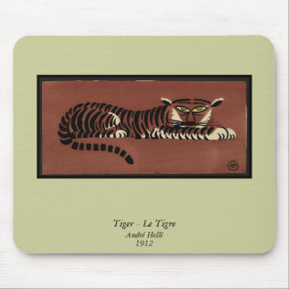 Tiger - Antiquarian, Colorful Book Illustration Mouse Pad