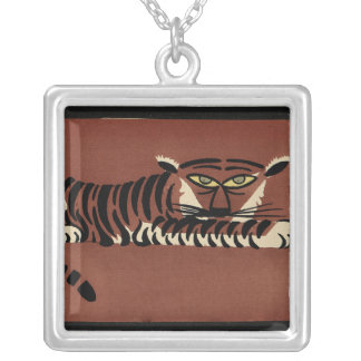Tiger - Antiquarian, Colorful Book Illustration Square Pendant Necklace