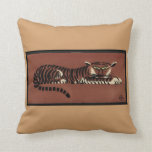 Tiger - Antiquarian, Colorful Book Illustration Pillows