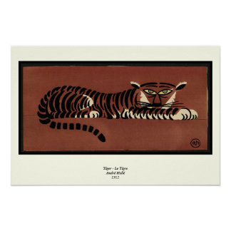 Tiger - Antiquarian, Colorful Book Illustration Poster