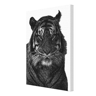 Tiger Art in Black and White Canvas Print