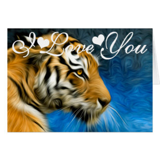 Tiger Art Painting Image I Love You Card