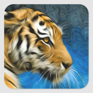 Tiger Art Painting Square Sticker