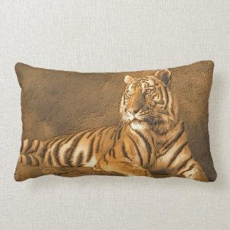 Tiger Art Portrait on a Brown Wall Background Lumbar Pillow