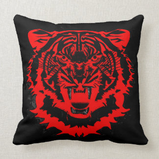 Tiger Artwork in Black and Red Throw Pillow