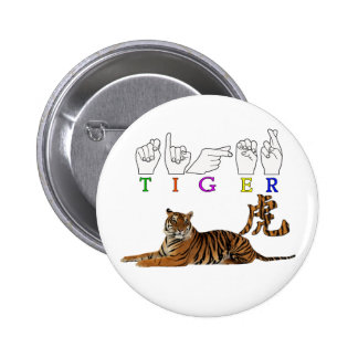 TIGER ASL FINGERSPELLED SIGN CHINESE CHARACTER PIN