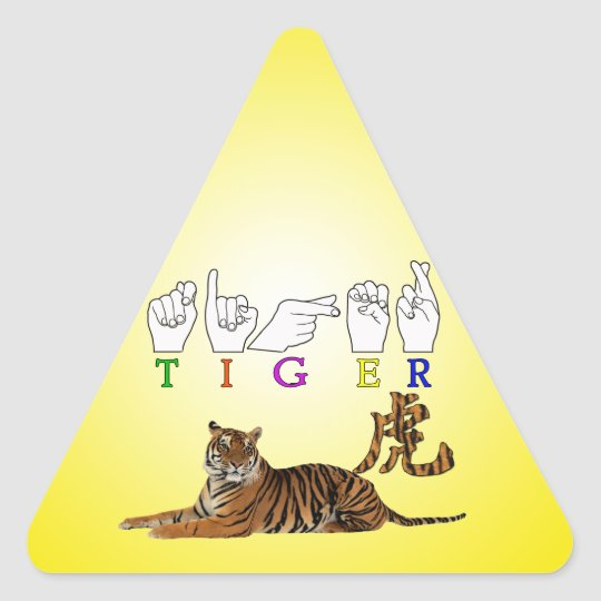 TIGER ASL FINGERSPELLED SIGN CHINESE CHARACTER TRIANGLE STICKER
